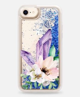 iPhone Crystals & Flowers Glitter Case