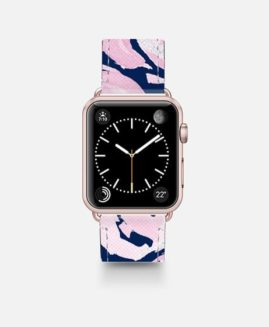 38mm PINK PEONIES ON NAVY APPLE WATCH BAND