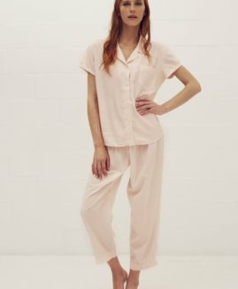 Essential 3 quarter Pyjama Set | Blush & White Stripe