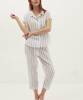 Essential 3 quarter Pyjama Set | Cotton Loop Stripe