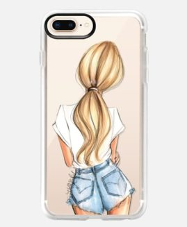 iPhone Plus Blonde Denim Fashion Girl Grip Case