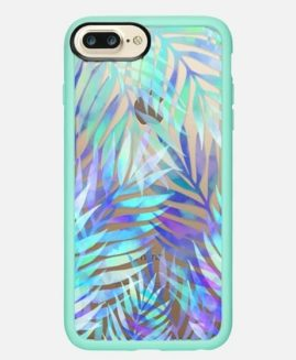 iPhone Plus Watercolour Palm Leaves Grip Case