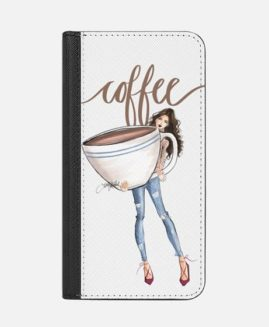 iPhone PLUS COFFEE GIRL ILLUSTRATION WALLET CASE