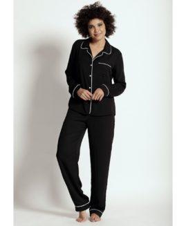 Classic Long Pajama Set | Ebony