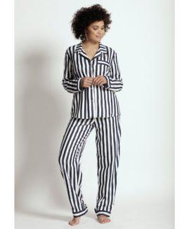 Tencil Classic Long Pajama Set | French Navy Stripe