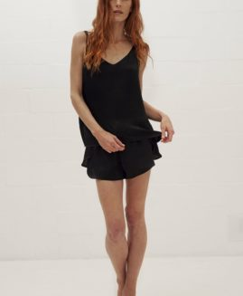 Silky Cami & Crossover Shorts   Washer Black