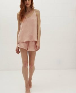 Silky Cami & Crossover Shorts | Washer Dusty Pink