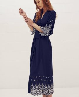 Long Kimono Inspired Gown | Navy