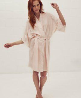 Short Kimono Inspired Gown | Blush & White Striped